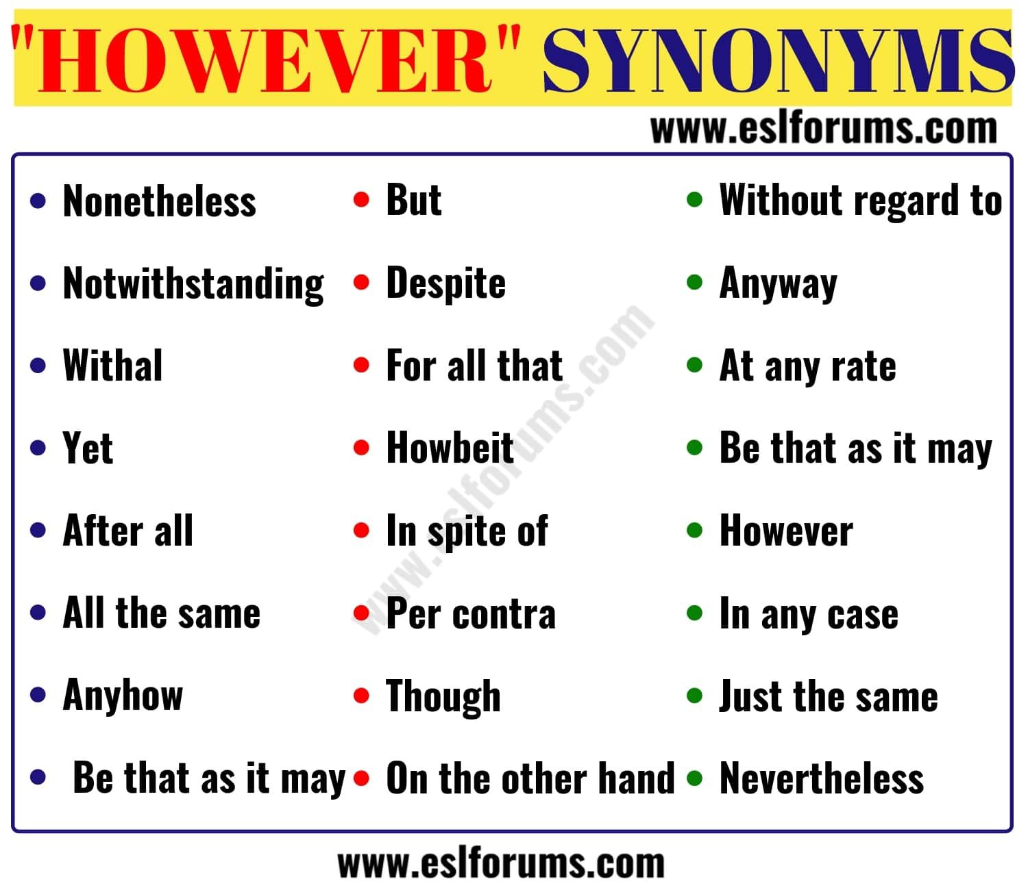 HOWEVER Synonym: 24 Useful Words to Use Instead of HOWEVER - ESL Forums |  Words to use, Learn english words, English vocabulary words
