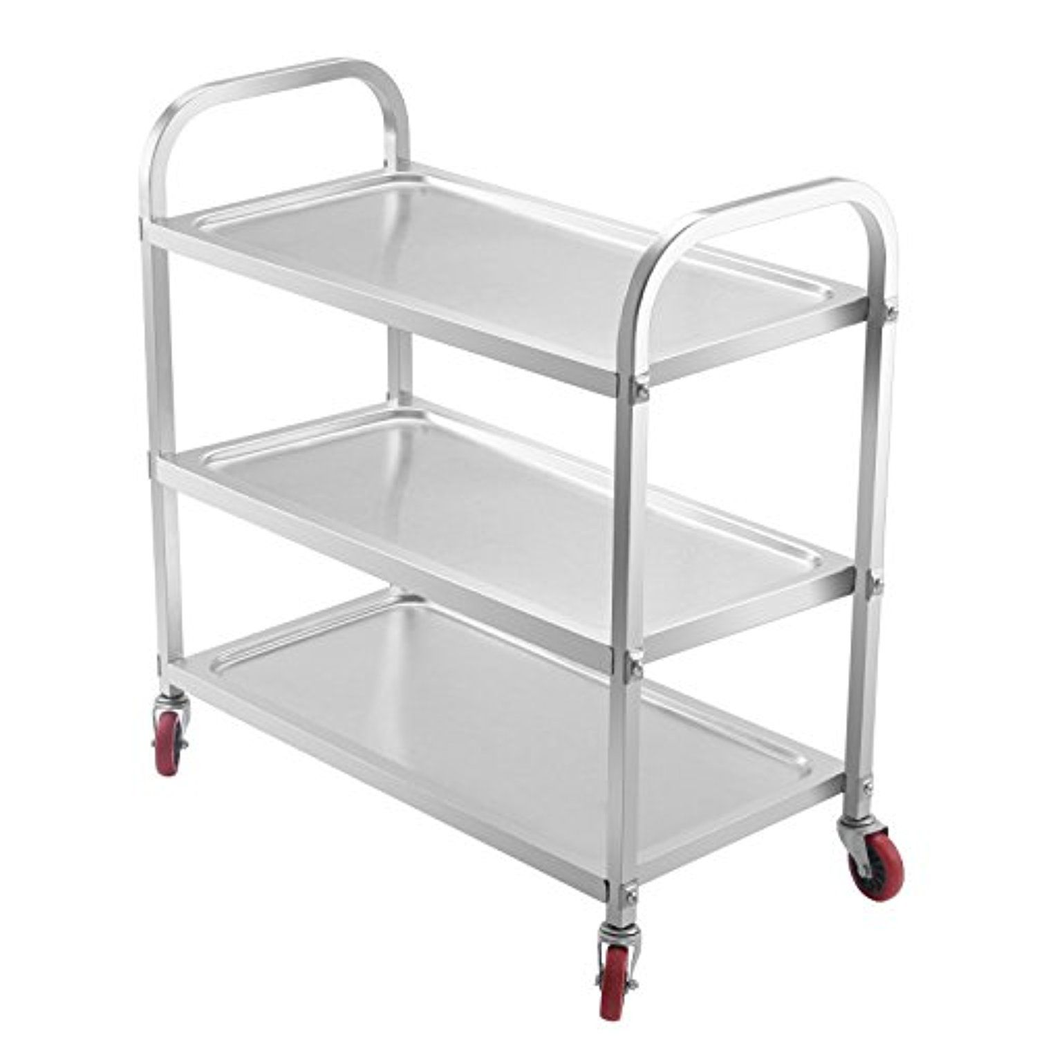 Happybuy Utility Cart 3Shelf Utility Cart On Wheels 330Lbs Stainless Steel  Cart Commercial Bus Cart Kitchen