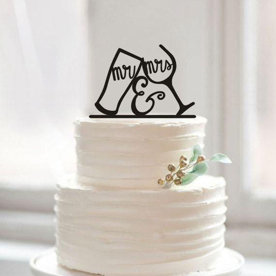 Mr Et Mme Wedding Cake Topper Drole Boire Coupe M Et Par Muggses
