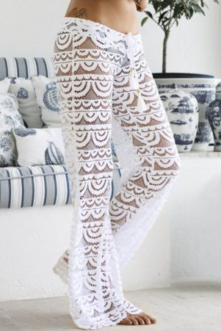 e80a45cb8e For Sandals! I could make these too! #Sexy #Lace See-Through Solid Color Pants  For Women Pants | RoseGal.com Mobile