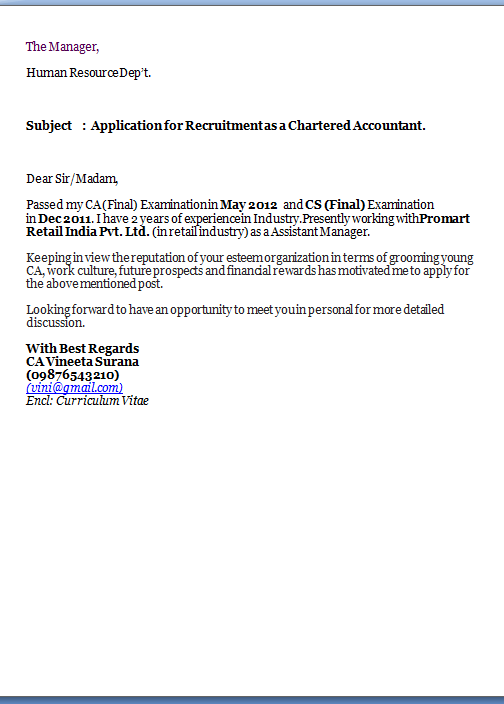 cover letter for chartered accountant resume