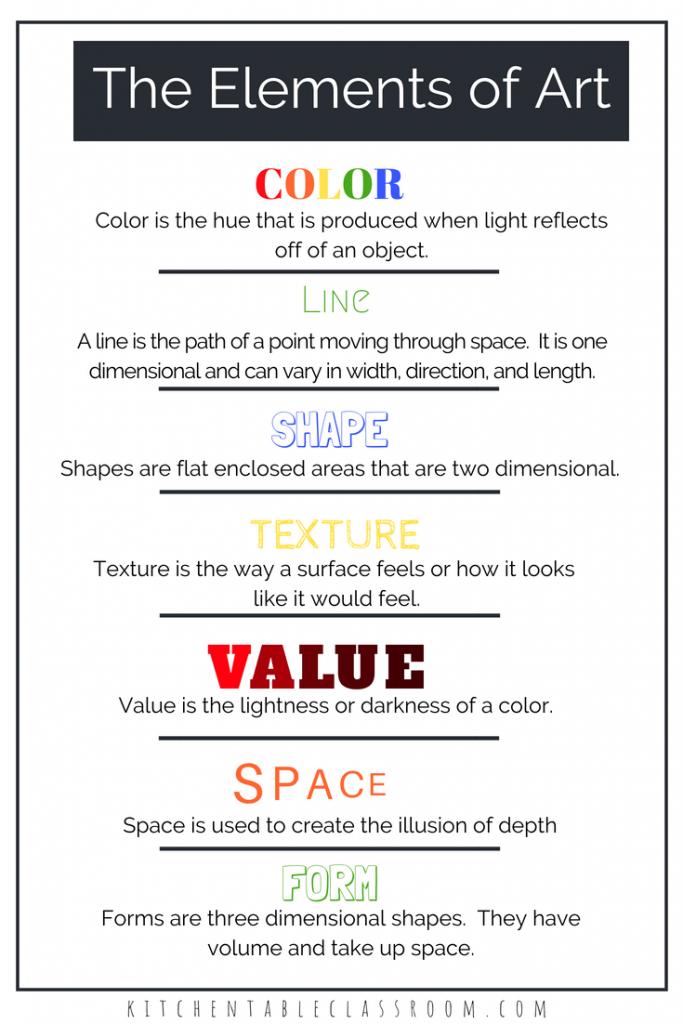 Elements of Art Definitions & Free Printable Resources