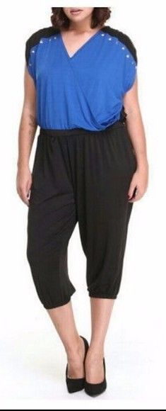 Apple Bottoms Plus Size Jumpsuit Studded Wrap Top Capri Sleeveless