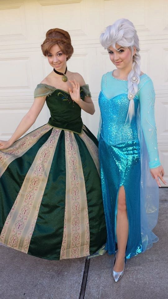 2014 Frozen Snow Princess Elsa and Anna Costume for Halloween party - puff sequin  sc 1 st  Pinterest & 2014 Frozen Snow Princess Elsa and Anna Costume for Halloween party ...