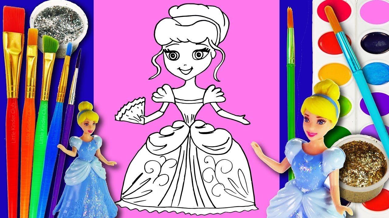 Drawing and Colors 15 - Watercolor Crayons Cinderella Hand Disney ...