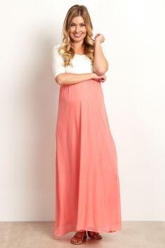 d8f70cb503ba8 Coral Chiffon Colorblock Maxi Dress Maternity Skinny Jeans, Maternity Maxi,  Stylish Maternity, Pink