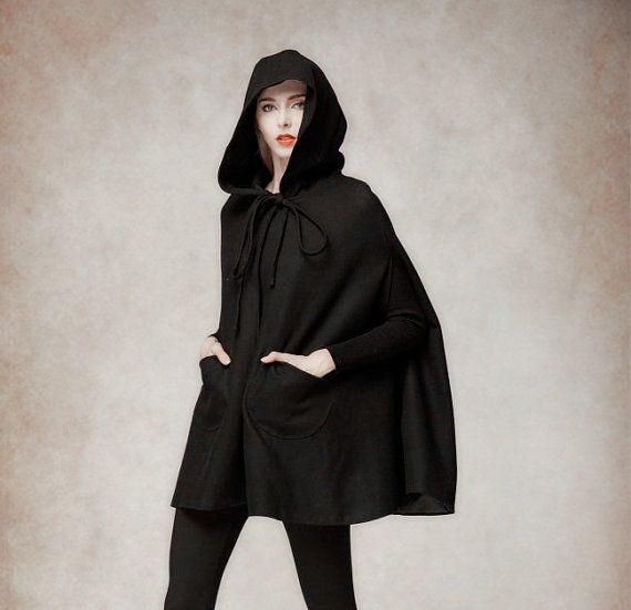 Hooded Cape Cloak for Women in Black, Winter Cape Coat, Wool Cape ...
