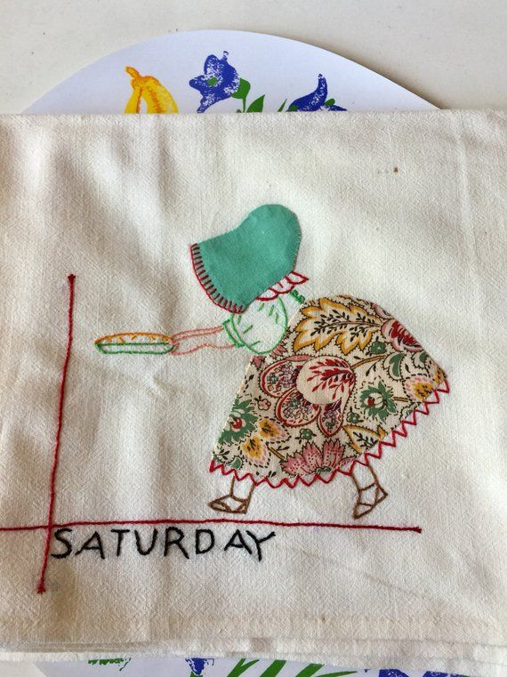 Vintage Sun Bonnet Sue Feedsack Dish Towel #2 For Saturday #sunbonnetsue