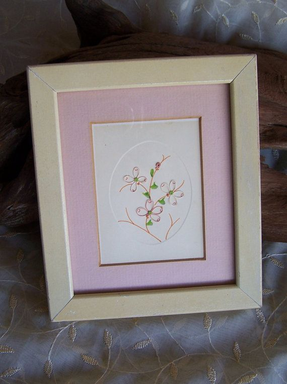 Delicate Pink Flower String Art Pink String Flowers Green Embroidery