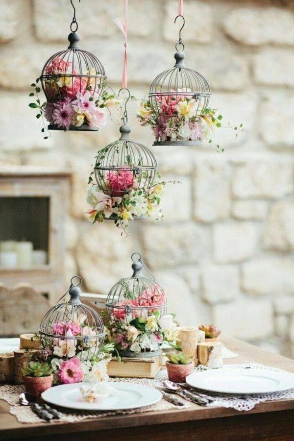 Cage A Oiseaux Decorative De Fleurs Naturelles