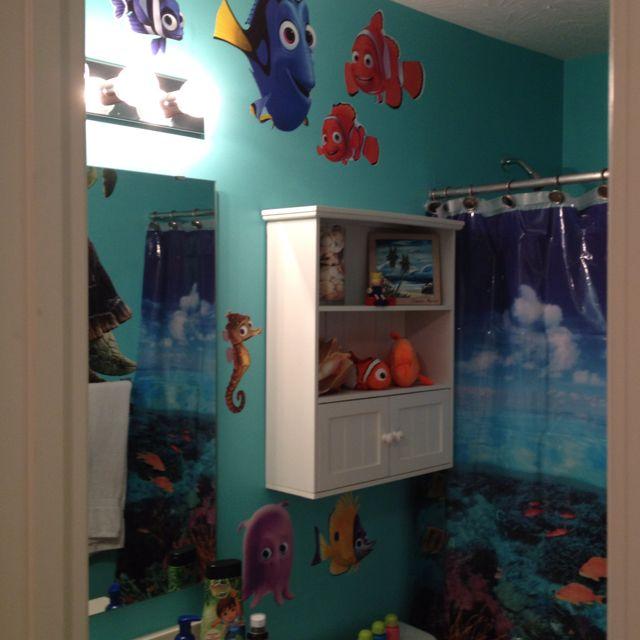 Kids bathroom under the sea shower curtain aqua paint for Finding nemo bathroom