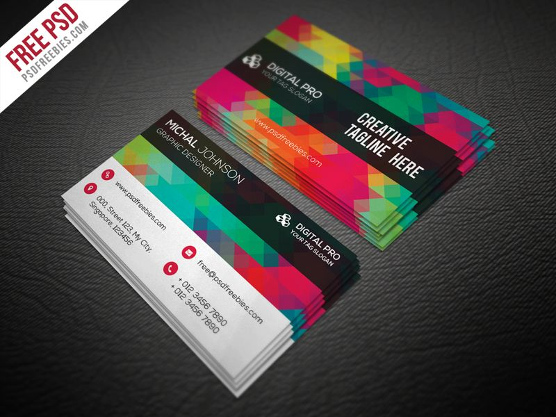 Creative Multicolor Business Card Template Free Psd Psdfreebies Com Business Card Psd Graphic Design Business Card Free Business Card Design
