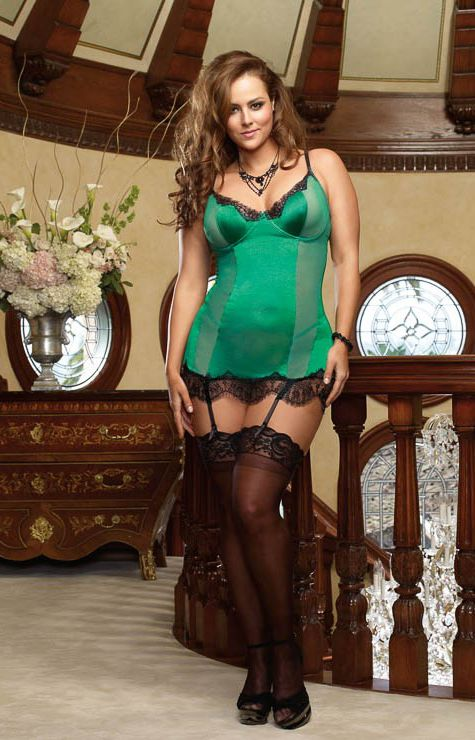 DG7955X - SILKEN SOIREE Stretch satin underwire garter slip with stretch mesh with spandex princess seam inset panels, eyelash lace trimmed cups and hem, hook & eye back closure  and removable garter straps. Matching thong included.  (Stockings not included *we sell Queen & Tall) SIZE: 1X/2X, 3X/4X  COLOR: BLACK,HOT PINK, ORCHID, PLUM, EMERALD Color Shown Here: EMERALD  COST: $ 89.99  MAILORDER: 519.371.1215 w/mjr cr cd or drop in to 274 8th St. E. Owen Sound, ON  to order. (Discrete Mail…