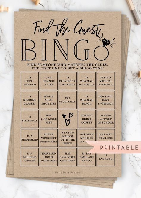 Find the Guest BINGO Virtual + Printable Bridal Shower Game . Fun Icebreaker . Kraft + White . Wedding Engagement Party . Instant Download