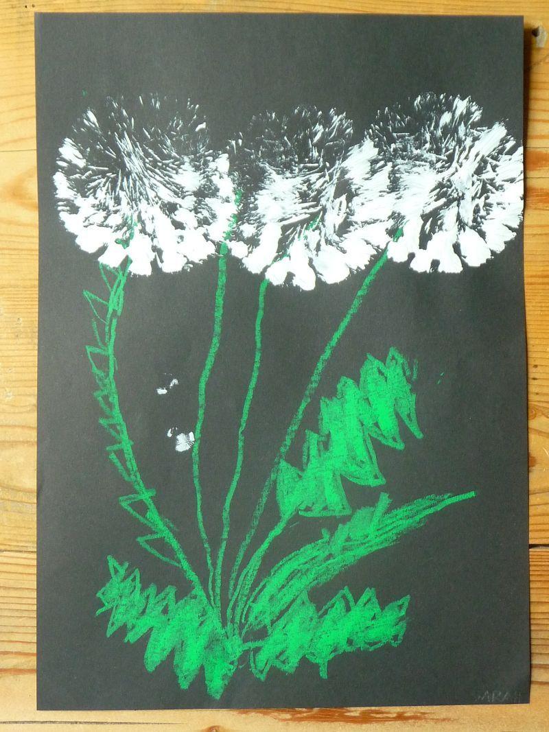 Meine gr ne wiese die pusteblume gemalt und gedruckt - Pusteblume basteln ...