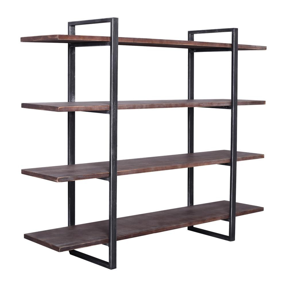 Today S Mentality 39 37 In Rustic Pine Black Metal 4 Shelf Standard Bookcase With Open Back Tmbeslwthd Wood Bookshelves Wood Shelves Industrial Bookshelf