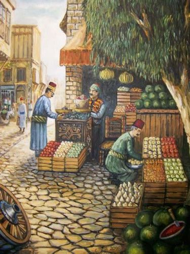 لوحة من التراث الدمشقي Heritage Of Damascus An Old Popular Market For Vegetables And Fruits Palestine Art Pakistan Art Painting