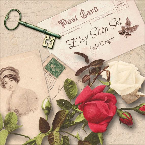 Etsy Shop Banners - Woman - Etsy Banners - Roses - Etsy Shop Set - Postcard