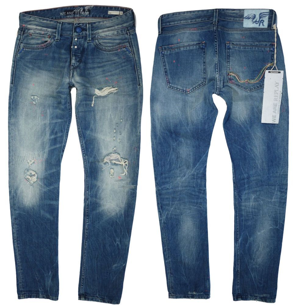 Replay Mens Jeans W-28 L-32 We are Replay Evidio Distressed Jeans €265 new