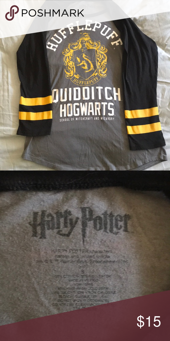 84a58f342 Harry Potter Hufflepuff raglan T-shirt Hufflepuff quidditch raglan tee.  Fits like a fitted small or juniors size Hot Topic Tops