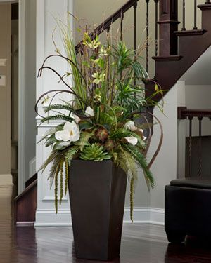 Too Big For My Project But Pretty Anyway Silk Magnolia Floor Plant Arrangement Ar Large Flower Arrangements Tall Flower Arrangements Silk Floral Arrangements
