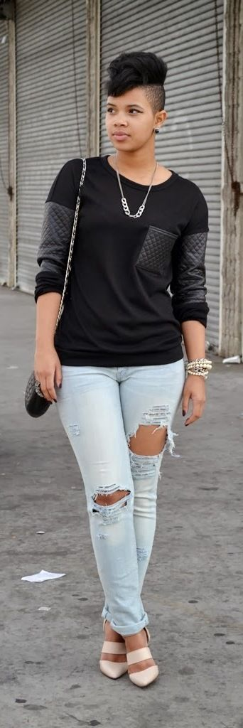 Casual black top with quilted faux leather on sleeves and breast pocket paired with light blue distressed jeans.. DIY the look yourself: http://mjtrends.com/pins.php?name=black-quilted-faux-leather-for-top