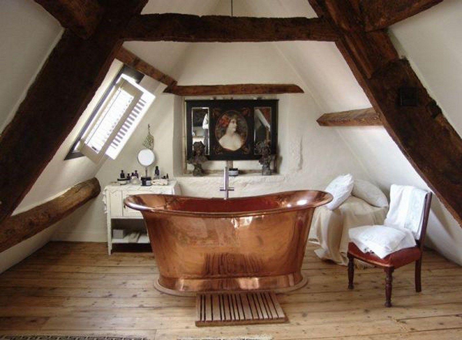 20 Rustic Bathroom Designs With Copper Bathtub | Attic bathroom ...