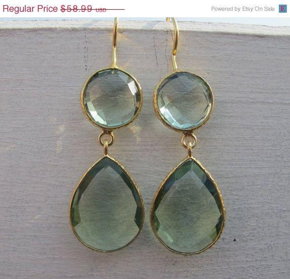 SALE Green Amethyst Earrings Gold Amethyst Earrings by Belesas, $53.09