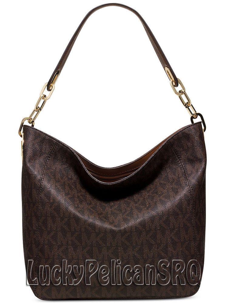 Michael Kors Fulton Mk Signature Pvc Medium Slouchy Shoulder Bag Handbag Brown N Michaelkors Shoulderbag
