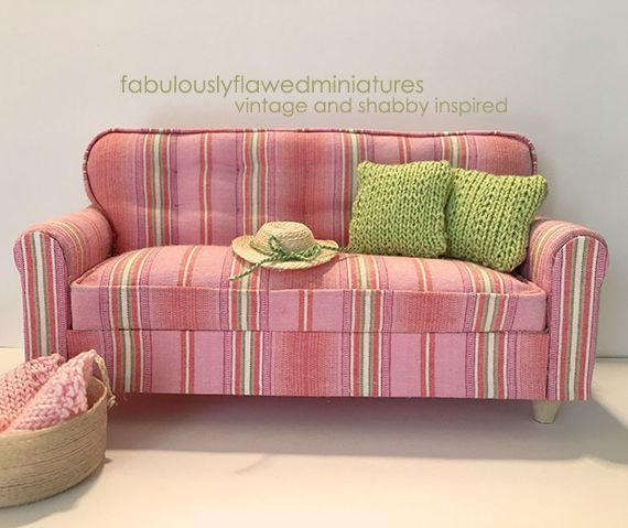 1:12 Scale miniature dollhouse sofa by Anita Smiley for ...