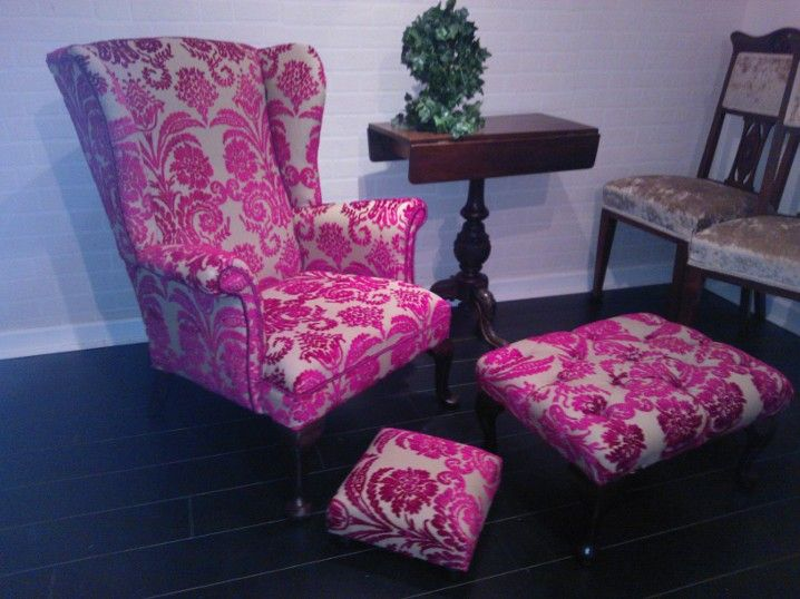 Vintage Wingback restored & reupholstered by Katiemoore.co.uk Fabric ...
