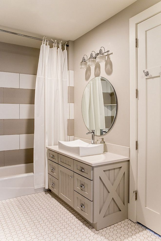 Beau In Law Master Greige Bathroom Features Grey Vanity, White Quartz Countertop  And Striped White And Grey Shower Tile.  Timber Frame Home With Farmhouse