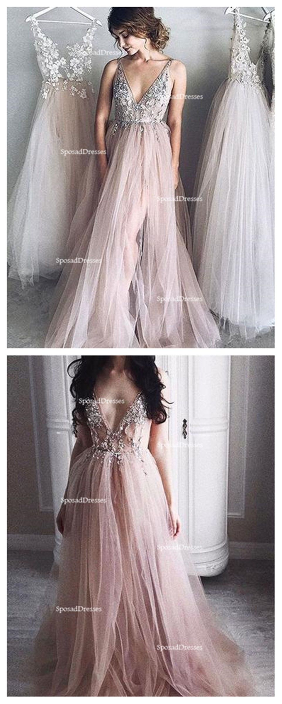 Pale blush pink sexy deep v neckline lace beaded long evening prom