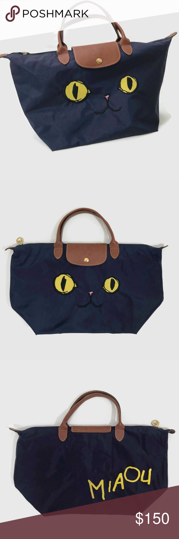 Longchamp LePliage Miaou Limited Edition Cat Bag Authentic Longchamp  LePliage Miaou Limited Edition Cat Tote Bag 391722c55f389