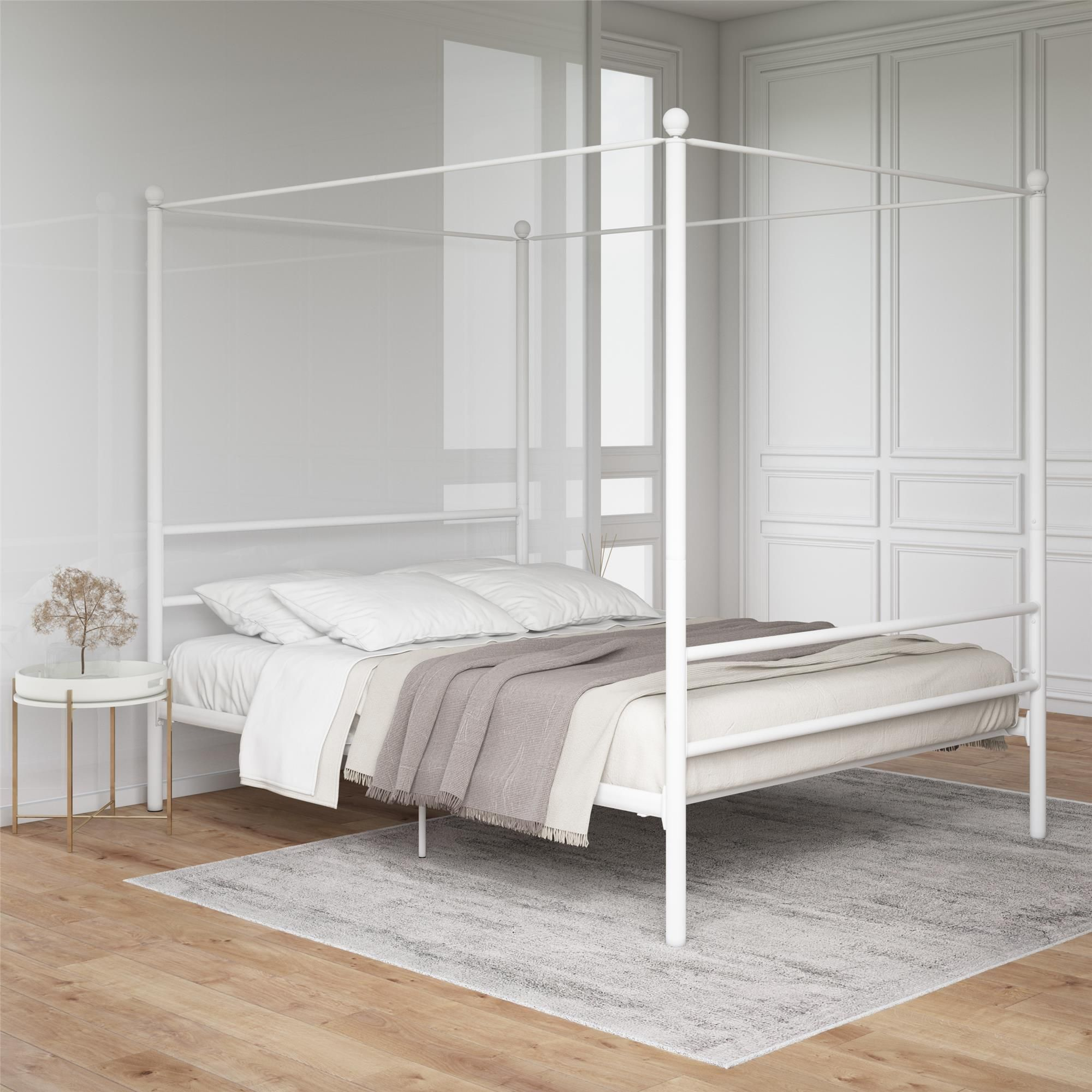 Mainstays Metal Canopy Bed White Queen Walmart Com In 2020 Metal Canopy Bed Canopy Bed Frame White Queen Bed Frame