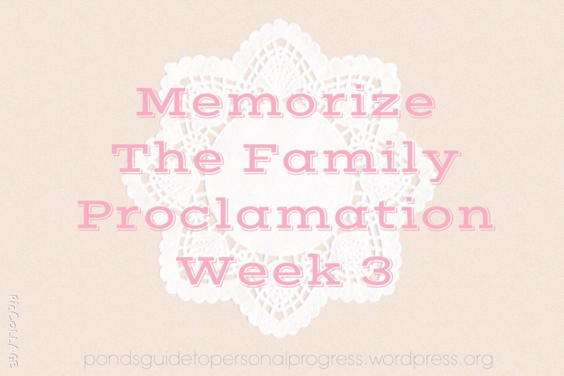 Memorise The Family Proclamation Week 3