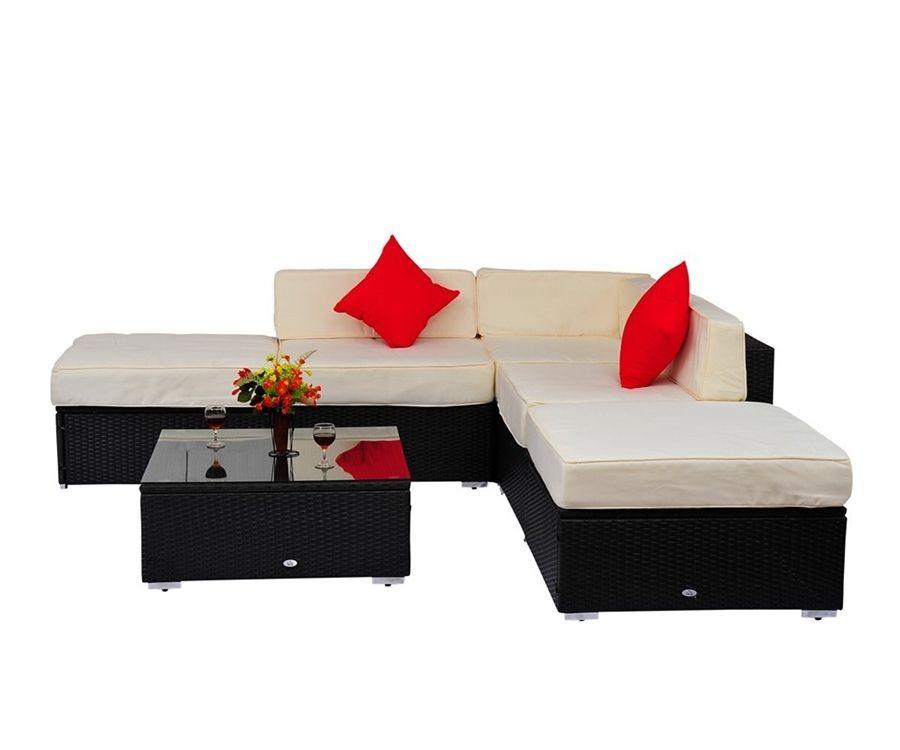 Homcom 6 Pc Outdoor Patio Pe Rattan Wicker Sofa Sectional Furniture Set