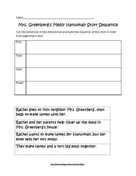 "Sequence activity for ""Mrs. Greenberg's Messy Hanukkah ..."