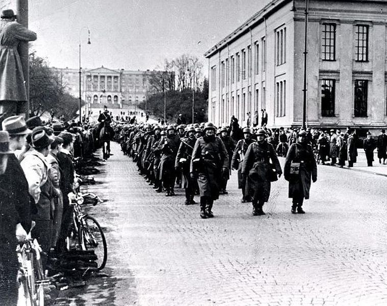 German soldiers march into Oslo, April 1940