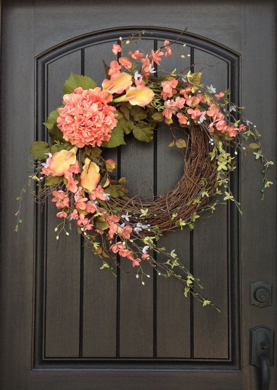 Photo of Spring Wreath Summer Wreath Floral White Green Branches Door Wreath Grapevine Wreath Decor-Coral Peach Lilies Wispy Easter-Mothers Day