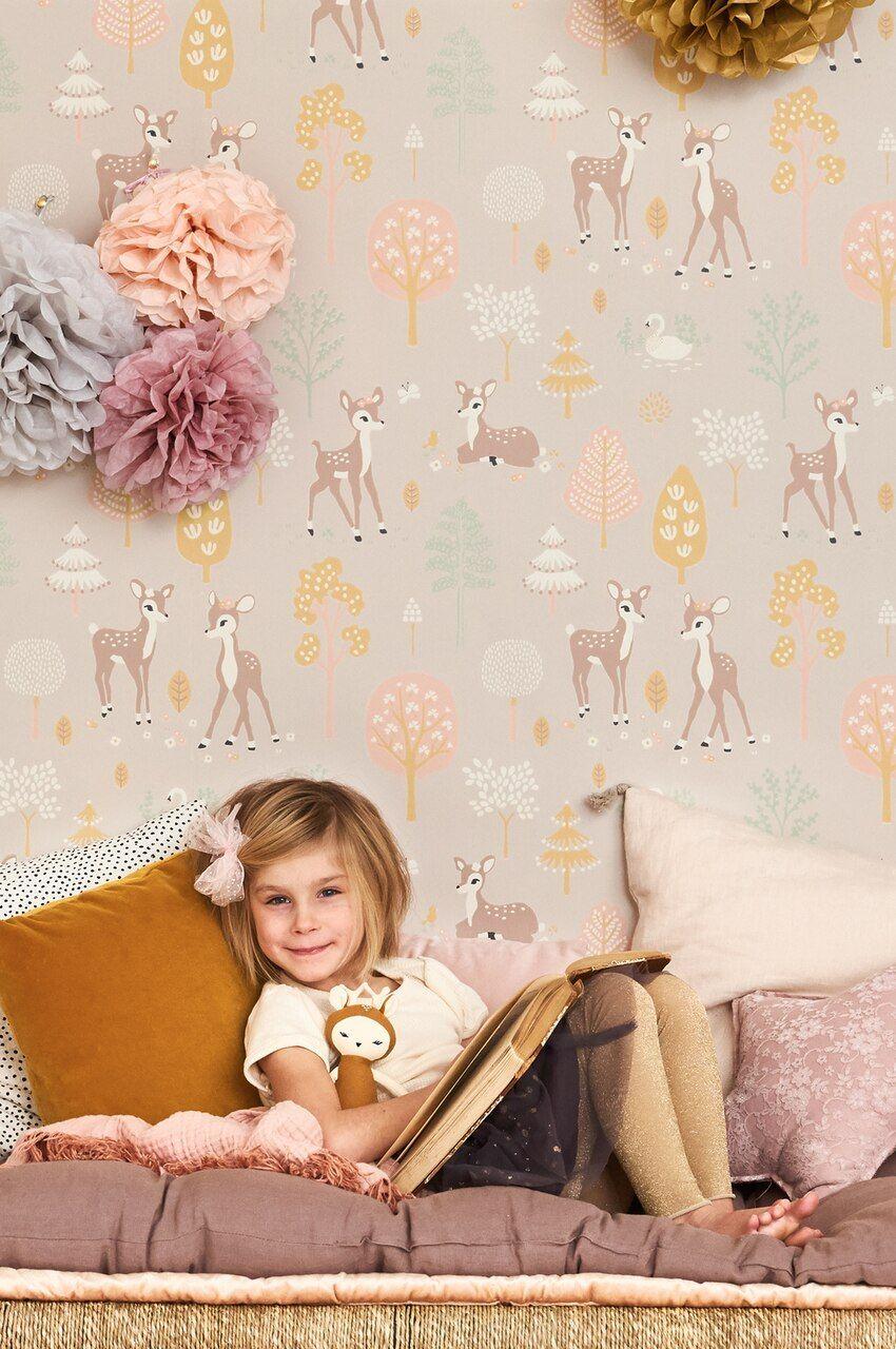 Golden woods dusty lilac in 2020 Kids room wallpaper