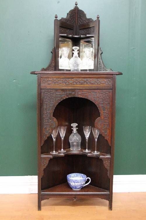 EANTEAKS ANTIQUE ENGLISH MAHOGANY MIRROR CORNER DISPLAY CABINET CUPBOARD C1890s