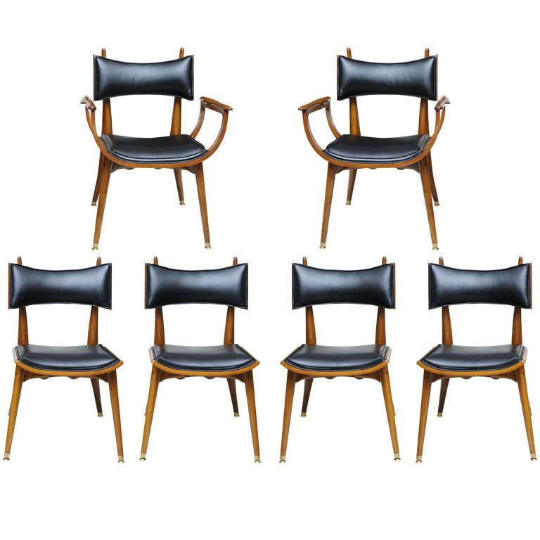 Fine Set Of Twelve Italian Modern Dining Chairs 1950s