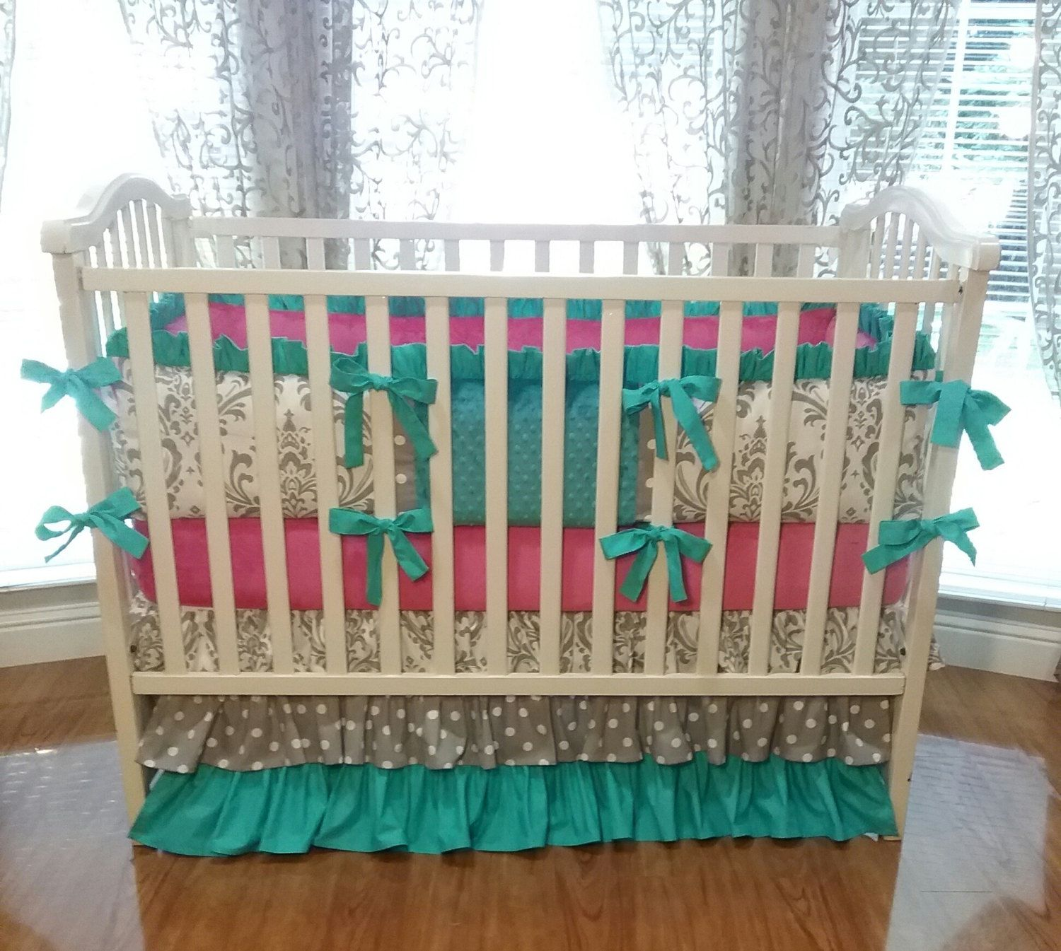 colored crib size together dijizz well chevron mint beddings full skirtr green skirt plus nursery with excellent and coral ruffle of as teal cribs