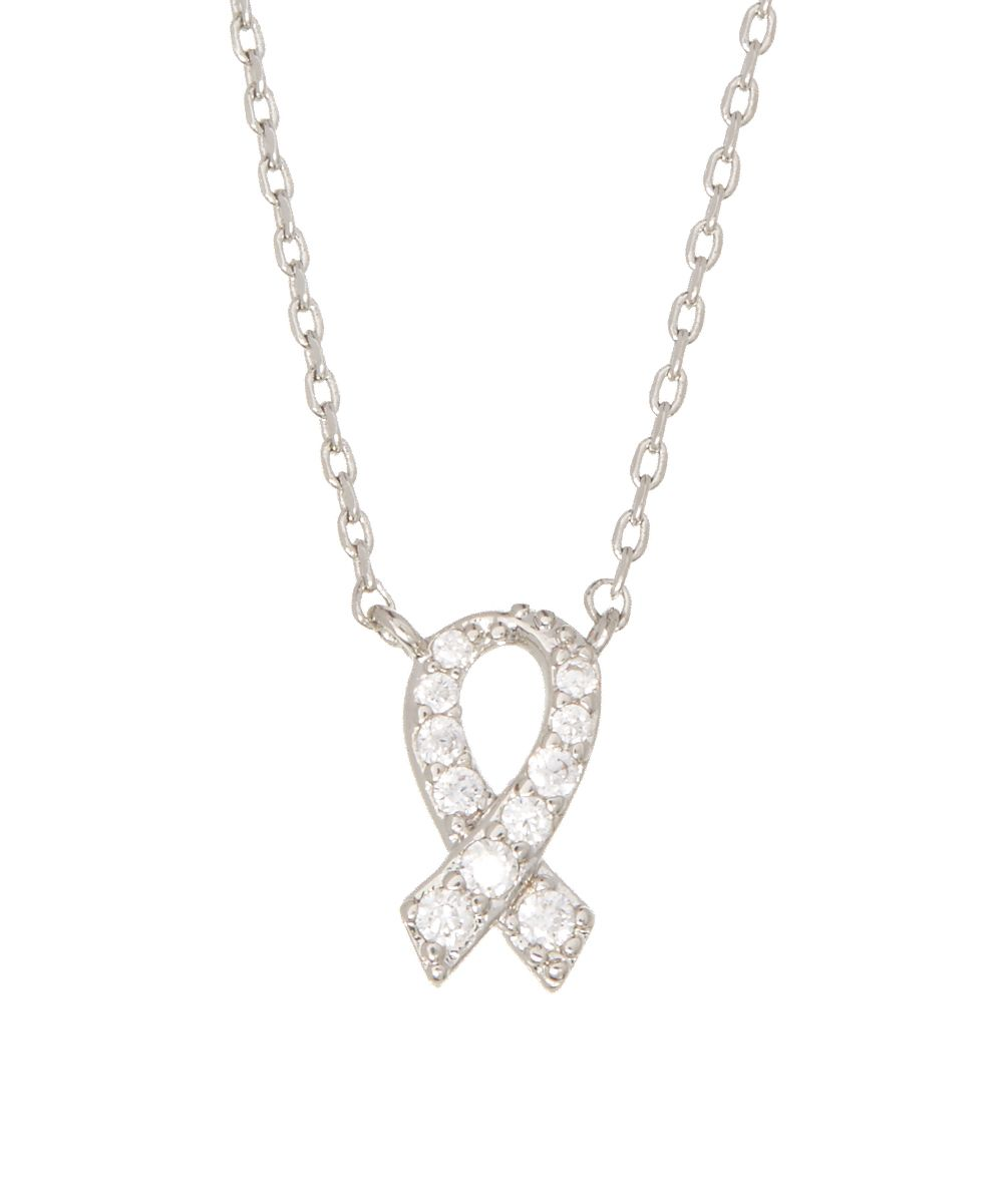 Cubic Zirconia & Rhodium-Plated Ribbon Pendant Necklace