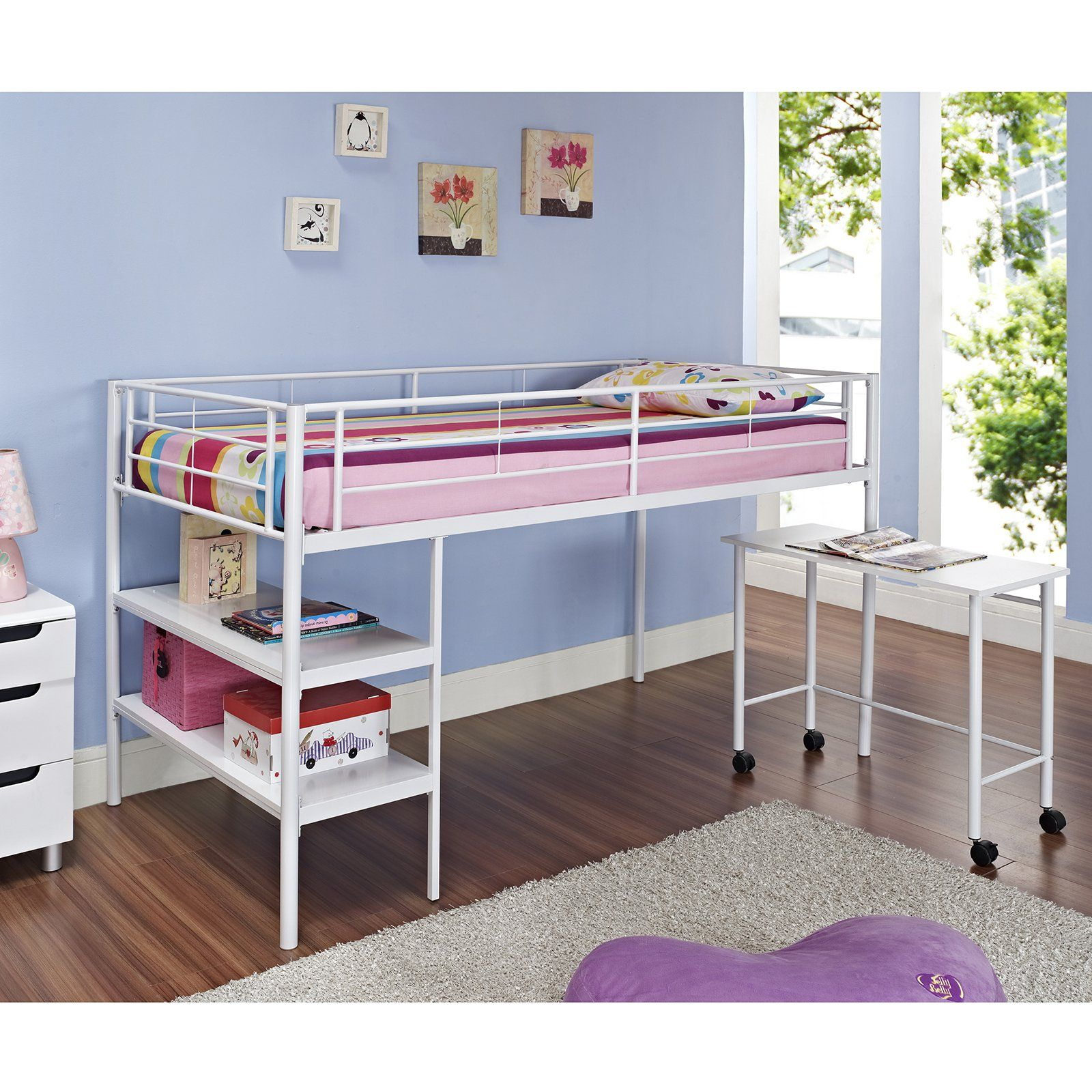 Wooden loft bed with desk  White Twin Loft Bed with Desk and Shelves  HNTLDSPWH  Products