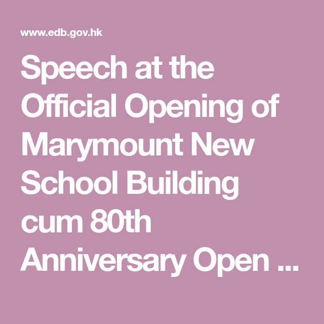 Speech at the Official Opening of Marymount New School