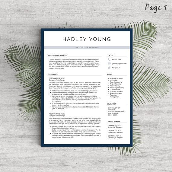 Modern Resume Template for Word and Pages (1, 2  3 Page Resumes +