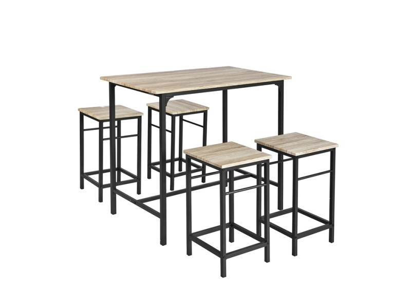 Set De 1 Table 4 Tabourets Ensemble Table De Bar Bistrot Mange Debout Haute Cuisine Ogt11 N Sobuy Vente D Table Haute Cuisine Table Mange Debout Table Bar
