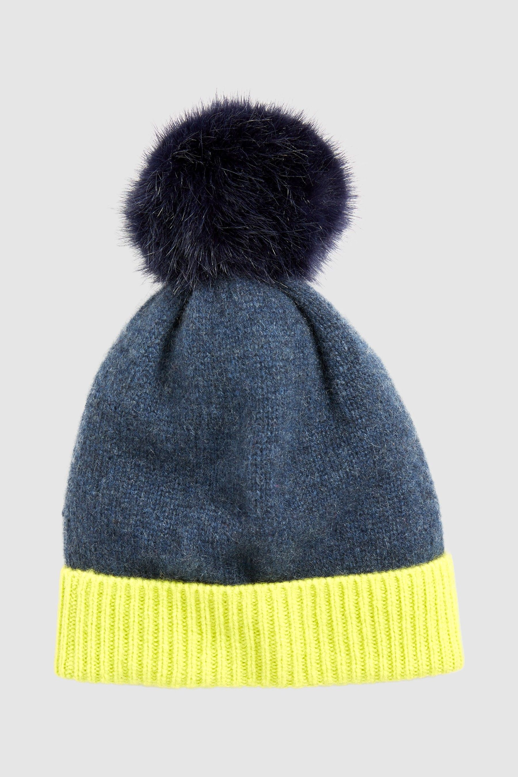 9b27462c29543 Womens Next Navy Lime Cashmere Mix Pom Hat - Blue